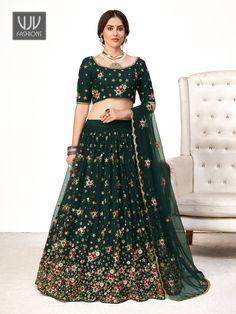 Rs5,600.00 Lehenga Dupatta, Green Lehenga, Ghagra Choli, Bridal Lehenga Online, Net Blouses, Party Wear Lehenga, Saree Shopping, Latest Sarees, Indian Wedding Outfits