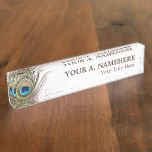 Peacock Feather Desk Nameplate