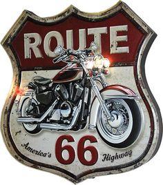 Vintage Look Route 66 LED Lighted Metal Sign w/ Embossed Motorcycle Graphics, Multi Metal Bar, Harley Davidson News, Harley Davidson Motorcycles, Images Vintage, Vintage Cars, Route 66 Sign, Vintage Metal Signs, Garage Art, Vintage Posters