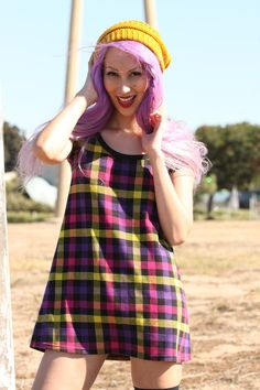 vintage school girl plaid mini dress