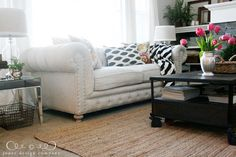 tufted linen sofa from andella home