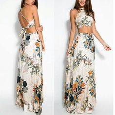 Vestido 2015 Summer Style Sexy Womens Halterneck Backless Bodycon Bandage Dress Floral Vintage Print Dress Long Beach Maxi Dress.$25.Small to Xl.