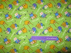 ADVENTURE TIME With Finn & Jake Cartoon Human Dog Cotton Fabric By The Half Yard by DaMommasTextiles on Etsy