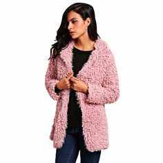 b0ab5ac41e VESTLINDA Winter Grey Wool Overcoat Warm Outerwear Women Pink Faux Fur Coat  Turn Down Collar Long