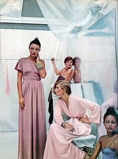 70s dress gown pink rose maxi Photo by Deborah Turbeville Vogue 1975