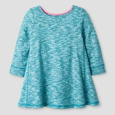 Baby Girls' Long Sleeve Trapeze Dress Blue - Cat and Jack™