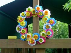 """wreath made from recycled playdoh containers & dollar tree tablecloths--- genius!!  @ """"That's My Letter"""""""