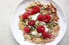 When I need a protein-packed breakfast that's equally delicious and nourishing – I always make this sweet berry pancake. It's full of blood-sugar balancing protein and fibre plus healthy fats to keep you satiated all morning! Decorate with seasonal berries, banana or some extra nuts and seeds. Divine!   Sweet Berry Pancake   Serves: 1   Ingredients: 2-3 egg whites (or 1 egg + 2 egg whites) 1 tbsp. LSA mix/flaxseeds 1 tsp. stevia 1 tsp. coconut butter 1/3 cup raspberries, fresh or fr...