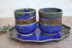 Royal Blue Cup Set with Tray ceramic tea by ManuelaMarinoCeramic