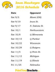 Printable Iowa Hawkeyes Football Schedule 2016