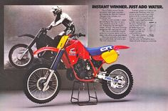 Honda CR500 - one of my most favorite ads. The bike looks beautiful just stock without any aftermarket items.