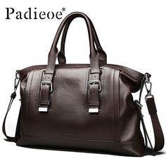 Padieoe Luxury Brand Genuine Leather Men Laptop Bag Briefcase Fashion Men s  Business Bags Casual Leather Messenger Bag for Men 15d92f75e7