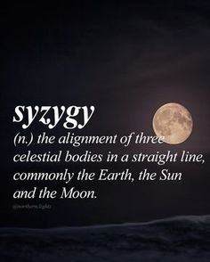 SYZYGY - English siz-i-jee Amazingly the only English word with three Ys also happens to describe a rare astronomical event involving three heavenly bodies. The Words, Weird Words, Words To Use, Cool Words, Unusual Words, Unique Words, Pretty Words, Beautiful Words, Amazing Words