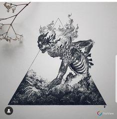 Original artwork, traditional art, ink drawing for Inktober Fire Element Dark Art Drawings, Tattoo Drawings, Cool Drawings, Body Art Tattoos, Dark Art Tattoo, Arte Obscura, Creepy Art, Pen Art, Skull Art