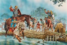 Roman soldiers are attacked by Cherusci Germanic tribesmen still dressed in their Roman armour. they were part of the auxiliary cavalrymen commanded by Arminius, Varus disaster/Teutoburg Forest 9 AD - art by Peter Dennis Roman History, European History, Military Art, Military History, Ancient Rome, Ancient History, Fall Of Constantinople, Roman Legion, Germanic Tribes