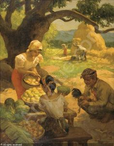 Gathering fruits and rice
