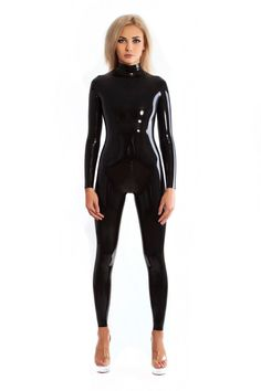 Sexy Black Latex Catsuit Rubber Zentai Suit Neck Entry Rubber Bodysuit With Crotch Zip High Quality Women's Cat-suit Black Catsuit, Leather Catsuit, Leather Jumpsuit, Latex Bodysuit, Latex Suit, Sexy Latex, Latex Wear, Nothing To Envy, Zentai Suit