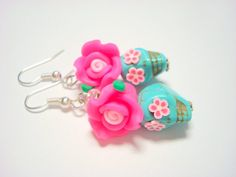 Bright Pink and Turquoise Day of the Dead Roses and by PennysLane, $8.50