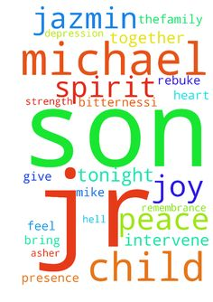 Prayer for my son and his son Michael Jr -  Heavenly father we need you to intervene Lord I pray can you shower Mike Jazmin and Michael Jr withyour peace , knitthem together then nothing will separate them hell jazmin tosee Michael Jr asher own child give her a forgiven hear let her feel his pain hard her hurt for bitternessI pray that My son will have a heart for his child bringthem together in your loveshower them with your presence with your peacewith your joy dont let no weapon form…