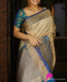 Stylish Beige Colored Latest Silk Saree With Blouse Piece - Latest Silk Sarees, Indian Silk Sarees, Soft Silk Sarees, Kerala Saree, Ethnic Sarees, Half Saree Designs, Silk Saree Blouse Designs, Kurta Designs, Blouse Patterns