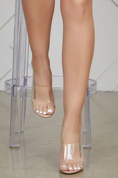 Clear heels are still our go to because they basically go with everything. The Fusion features a clear block heel with nude lining. Clear Heel Boots, Clear Strap Heels, Clear Shoes, Beautiful Sandals, Beautiful Toes, Cobalt Blue Shoes, Clear Block Heels, Pernas Sexy, Transparent Heels