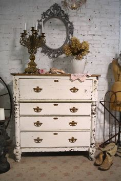 Painted Cottage Prairie Chic Chippy Vintage Shabby Chic Dresser / Chest by paintedcottageprairi on Etsy