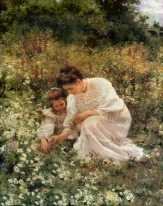 Picking daisies , 1905 by Hermann Seeger