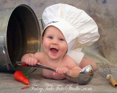 Baby Chef with a Pot | Cooking Theme Portrait Poses | Photo Idea | Photography | Cute Kid Pic | Baby Pics | Posing Ideas | Kids | Children | Child | ~Bountiful Utah Photographer close to Salt Lake City | Ogden | Provo UT~