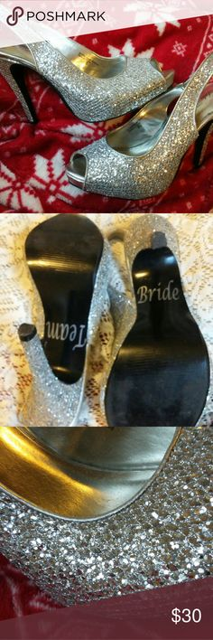 Silver Glitter Bride Prom Peep Toe Shoes 8 Beautiful sparkly Silver glitter peep toe sling back heels in size 8 by LuLu Townsend. Only worn once. Lulu Townsend Shoes Heels