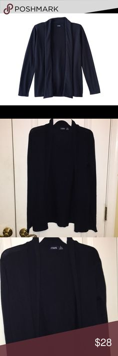 Chaps girl's navy open front cardigan L (12/14) Keep her warm in this girls' open front cardigan from Chaps. In navy.   PRODUCT FEATURES •Open front •Long sleeves FABRIC & CARE •Cotton, acrylic •Machine wash •Imported Chaps Shirts & Tops Sweaters