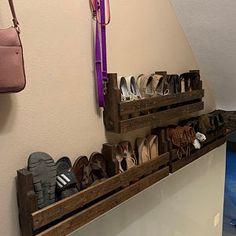 Pallet Shoe Rack / Wall Shoe Rack / Rustic Shoe Rack / Shoe | Etsy Rustic Shoe Rack, Wooden Shoe Racks, Shoe Storage Pallet, Wall Shoe Rack, Minwax Wood Stain, Shoe Organizer, Custom Items, Wall Mount, Etsy