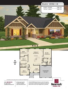 Newrock Homes Plan # Sims House Plans, New House Plans, Dream House Plans, House Floor Plans, One Level Homes, Craftsman Style House Plans, Ranch Style Homes, House Blueprints, Small House Design