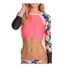 Body Glove Sanctuary Trendy Crop Top Womens Rash Guard,