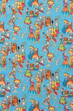 Alexander Henry Fiesta de Los Muertos Day of The Dead Skeletons Turquoise Fabric All Souls Day, Alexander Henry Fabrics, Cotton Blossom, Turquoise Fabric, Cotton Crafts, Pretty Photos, Cellphone Wallpaper, Pics Art, Day Of The Dead