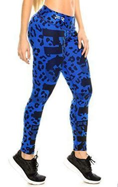 Fiber Leggings Womens Yoga Pants Compression Tights (blue knit) at Amazon Women's Clothing store