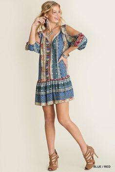 Umgee USA Sayulita Fiesta Tunic Dress Cold Open Shoulder Boho Western Chic S-M-L #UmgeeUSA #Tunic #Casual
