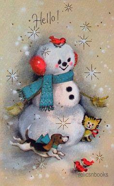 #831 60s Gibson Snowman-Birds-Dog-Cat-Vintage Christmas Card-Greeting