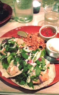 Great Mexican restaurant ¡Panza! in Kuopio, Finland. Go and check it out! Delicious tacos with salmon and shrimps.