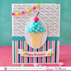 Gallery Birthday Bash Kit - Queen & Co Homemade Birthday Cards, Cute Birthday Cards, Homemade Greeting Cards, Making Greeting Cards, Homemade Valentines, Birthday Diy, Greeting Cards Handmade, Homemade Cards, Creative Cards