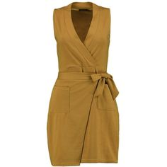 Boohoo Aileen Obi Tie Sleeveless Wrap Dress | Boohoo ($20) ❤ liked on Polyvore featuring dresses, layering cami, sleeveless bodycon dress, brown cami, brown cocktail dress and brown camisole