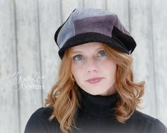 Patchwork Newsboy Hat in Black Grey and by GreenTrunkDesigns