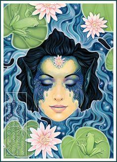 ✯ The Messenger Oracle Wash Away Your Burden Card 47 :: Artist Ravynne Michele Phelan ✯