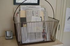 Mail basket to collect letters and other papers {featured on Home Storage Solutions 101}