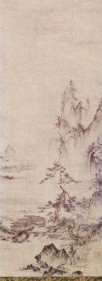 Künstler: Shubun Titel: Landschaft Jahr: um 1450 Maße: Höhe 90 cm Technik: Tinte und Farben auf Papier Ort: Seattle Museum: Art Museum Kommentar: Handrolle, Landschaftsmalerei Land: Japan