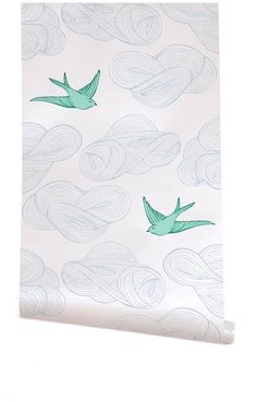 Daydream wallpaper in white and turquoise, by Julia Rothman for Hygge & West #lifeinstyle #greenwithenvy