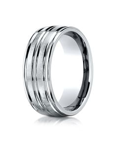 18k White Gold 8mm Comfort-Fit Satin-Finished High Polished Center Trim and Round Edge Carved Design Band