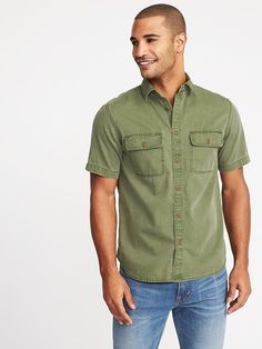 94012d5f48c Slim-Fit Garment-Dyed Utility Shirt for Men Style Guides
