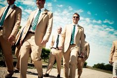 Khaki suits with Blue Plaid ties - Simply Blue Weddings | Real Weddings | Modern Edge Photography