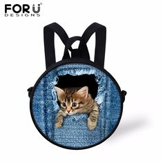 Cute Cat Dog Children School Bags for Baby Boys 3D Zoo Animal Book Bag Mochila Infantil Denim Blue Kindergarten Kids schoolbag