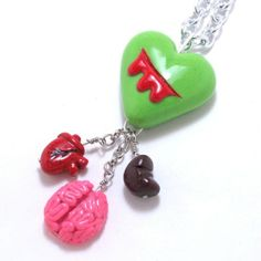 Zombie Heart Necklace Deluxe organ edition Version 2 by LadySpleen, $28.00